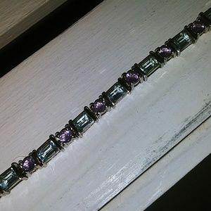Jewelry - Blue Topaz & Amethyst Sterling 925 Silver Bracelet